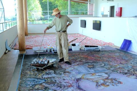 "Jeppe Eisner maler scenetæpper til ""Paradis i Helvede"""