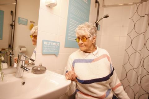 I vårt badrum är det enklare att gå på toa. Vill du kolla?