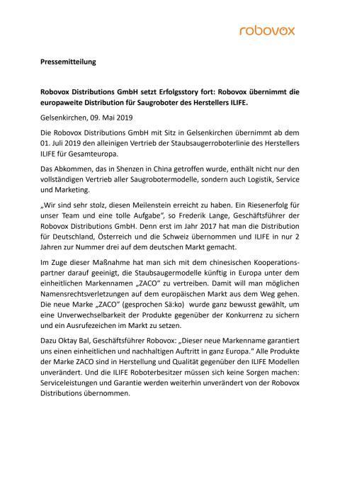Robovox Distributions GmbH setzt Erfolgsstory fort: Robovox übernimmt die europaweite Distribution für Saugroboter des Herstellers ILIFE.