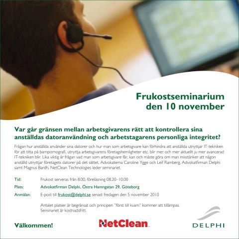 Inbjudan: Delphi och NetClean bjuder in till frukostseminarium 10 november