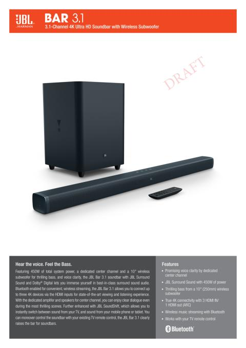 JBL BAR 3.1 - Spec sheet