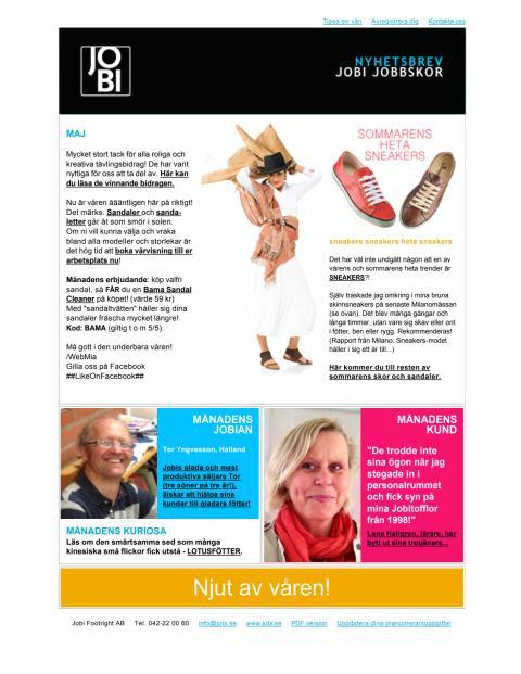 JOBI Jobbskor Nyhetsbrev maj 2013
