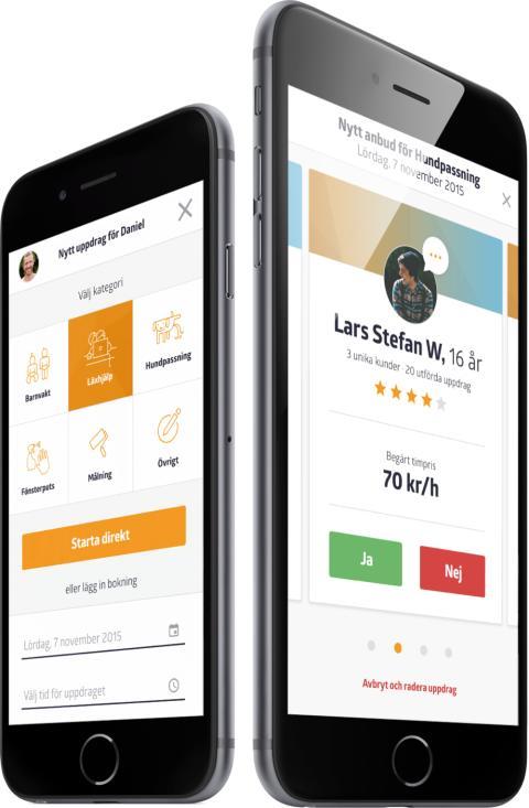 Uppdrag läggs ut, bokas och betalas via appen