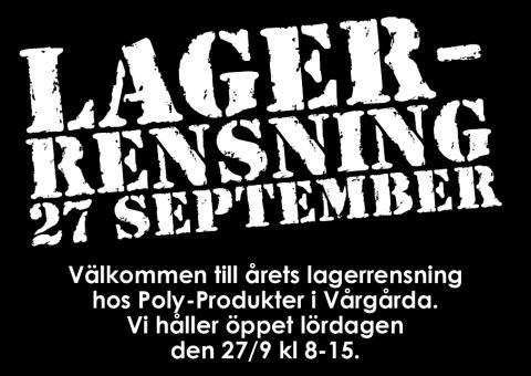 Lagerrensning hos Poly-Produkter / PolyRopes 27 september 2014