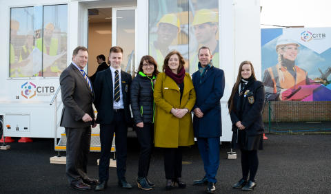 Local students help launch NI Apprenticeship Week on state-of-the-art training bus