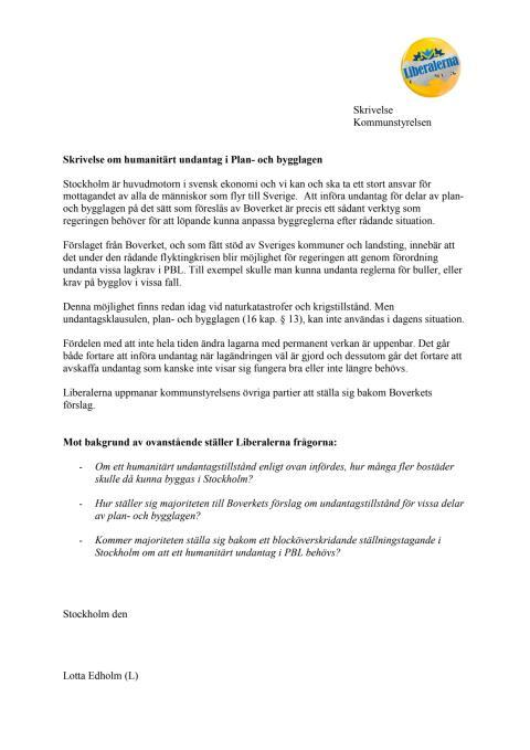Skrivelse om att införa undantag i PBL