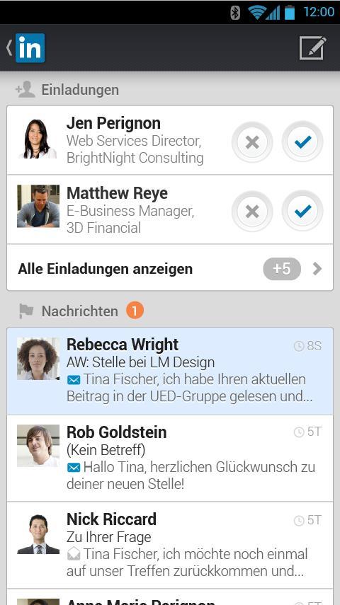 Screenshot LinkedIn Android Inbox