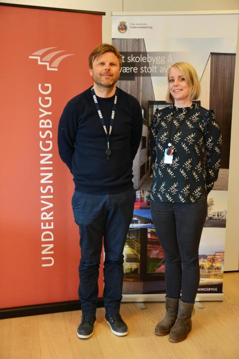 Kaj Jacobsen i Hent og Undervisningsbyggs prosjektleder Lisbet Elvaker er klare til å sette i gang med nytt tilbygg på Toppåsen skole i Oslo.