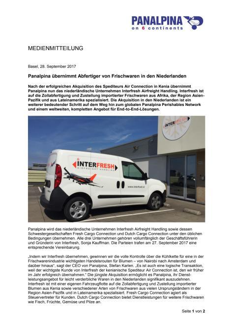 Panalpina übernimmt Abfertiger von Frischwaren in den Niederlanden