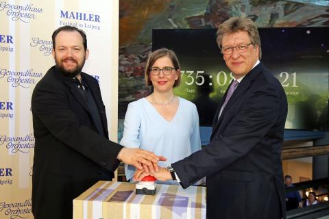 Mahler-Festival 2021 - Start des Vorverkaufs mit Andris Nelsons (Gewandhauskappellmeister), Dr. Skadi Jennicke (Bürgermeisterin für Kultur) und Prof. Andreas Schulz (Gewandhausdirektor)