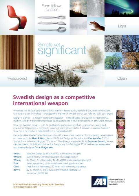 IAA Sweden seminar - Swedish Design as a competitive international marketing tool