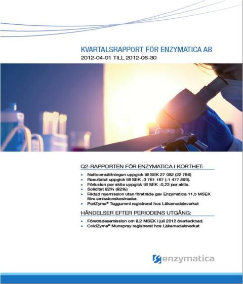 Kvartalsrapport för Enzymatica AB_2012-04-01 till 2012-06-30