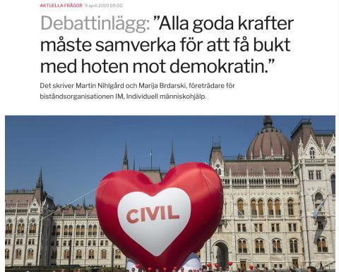 """""""Alla goda krafter måste samverka för att få bukt med hoten mot demokratin."""" IM i Sydsvenskan idag där Symbal omnämns."""