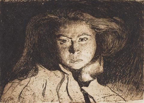 Ester Almqvist, självporträtt, etsning, 1907