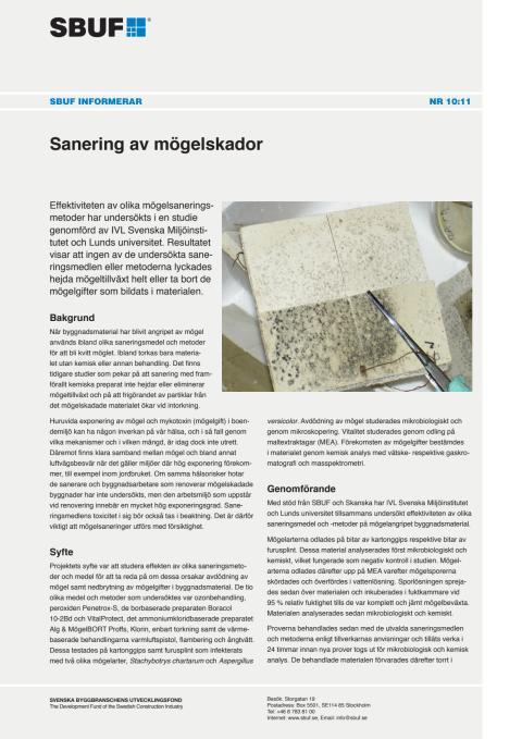 SBUF Informerar, nr. 10-11 - Sanering av mögelskador