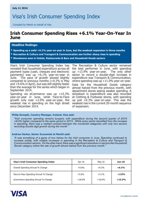 Visa Europe's Irish Consumer Spending Index - 12 July 2016