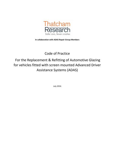 ADAS Glazing Code of Practice