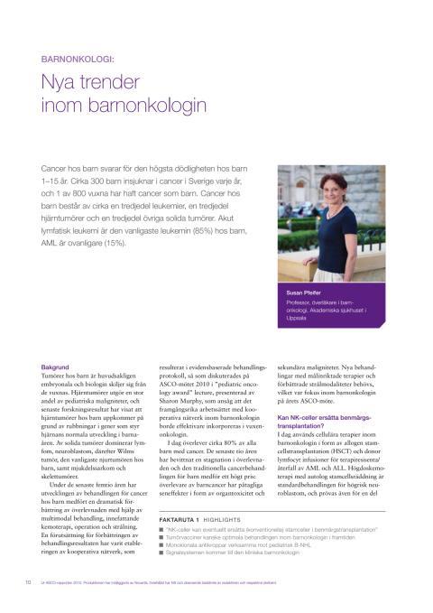 Barnonkologi - professor Susan Pfeifer rapporterar från ASCO 2010