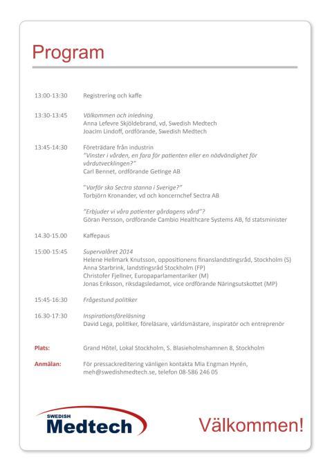 Program Swedish Medtechs årsmöteskonferens 2014
