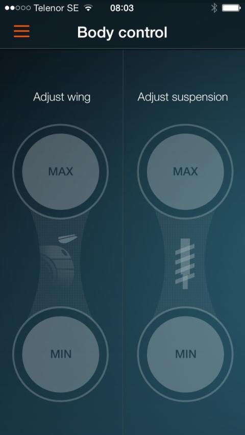 Koenigsegg One:1 app Body Control