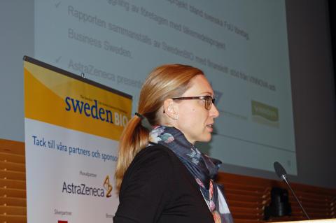Sara Gunnerås presenterar Swedish Drug Development Pipeline 2013: 100 svenska företag utvecklar morgondagens läkemedel, varav hälften har projekt i klinik