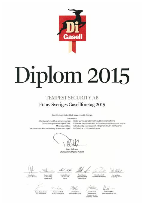 Tempest Security blev DI Gasell även 2015
