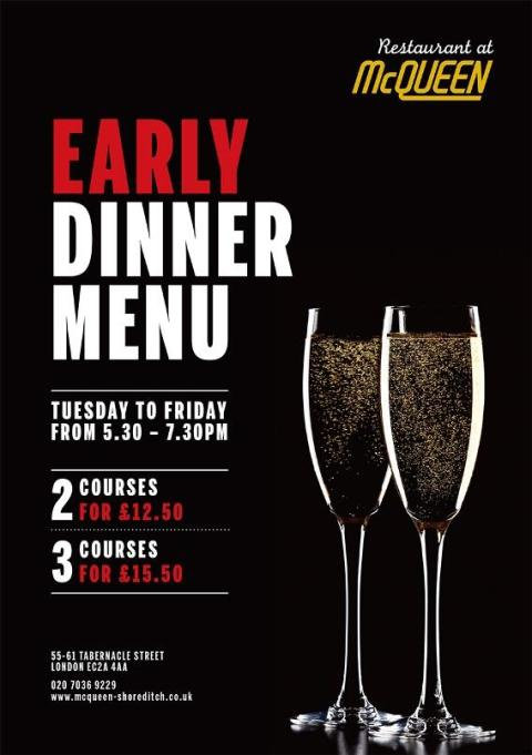 Early Dinner Menu Tuesday to Friday from 5:30 to 7:30PM