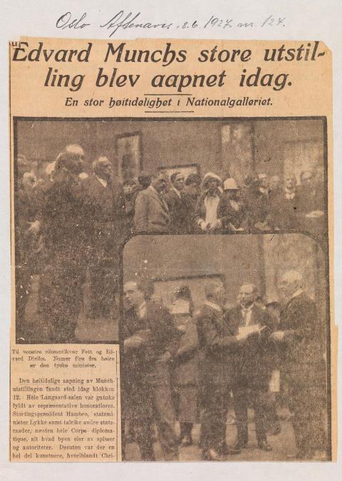 Munch-utstillingen 1927, Oslo Aftenavis, 8. juni 1927