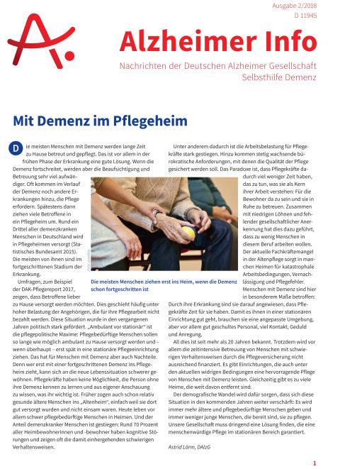 Mit Demenz im Pflegeheim: Alzheimer Info 2/2018 ist erschienen