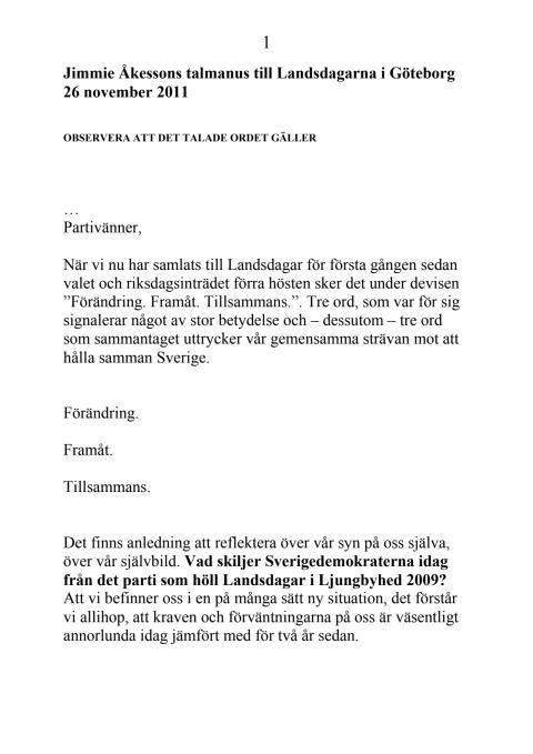 Jimmie Åkessons talmanus Landsdagarna 26 november 2011