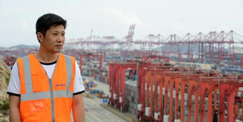 Panalpina employee at the port of Shanghai, China