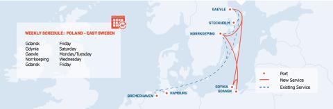 Unifeeder introducerar ny veckovis linje mellan Gävle Hamn och Polen