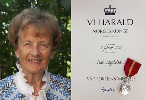 Frid Ingulstad tildelt H.M. Kongens fortjenestemedalje