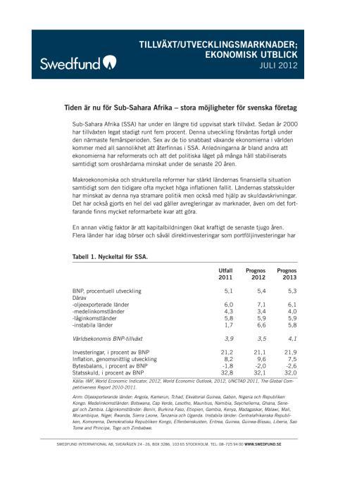Tillväxt/utvecklingsmarknader Ekonomisk utblick