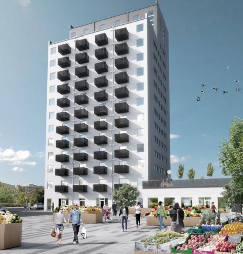 Pressmeddelande BOX bygger hyresrätter i 15-våningshus med loftlägenheter i Vårberg Centrum