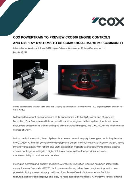 Cox Powertrain To Preview CXO300 Engine Controls And Display Systems To US Commercial Maritime Community