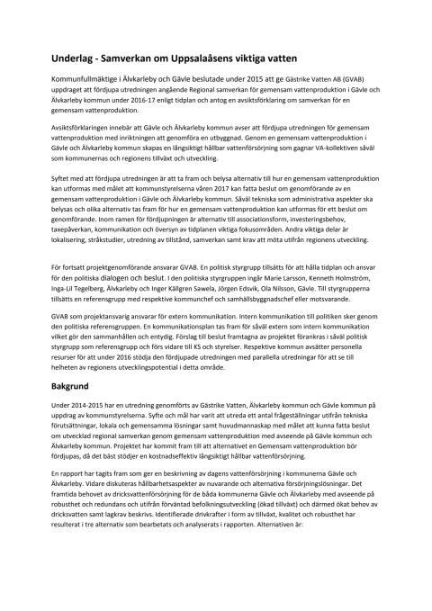 Underlag för pressträffen 3 februari 2016 om Uppsalaåsens viktiga vatten