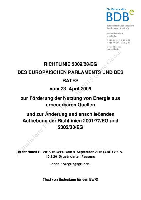 2. Richtlinie 2009/28/EG konsolidierte Fassung vom 15.09.2015 (BDBe)