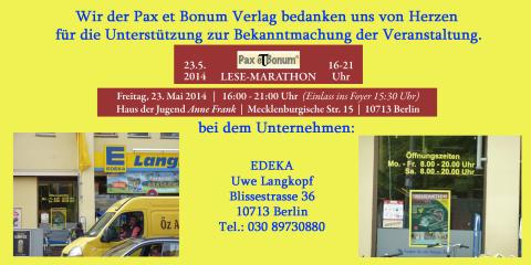 Wir der Pax et Bonum Verlag bedanken uns von Herzen bei EDEKA für die Unterstützung zur Bekanntmachung der Veranstaltung.