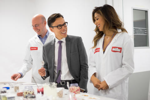Nicole Scherzinger with Michael Inpong, Marketing Director and Jesse Steward from Research