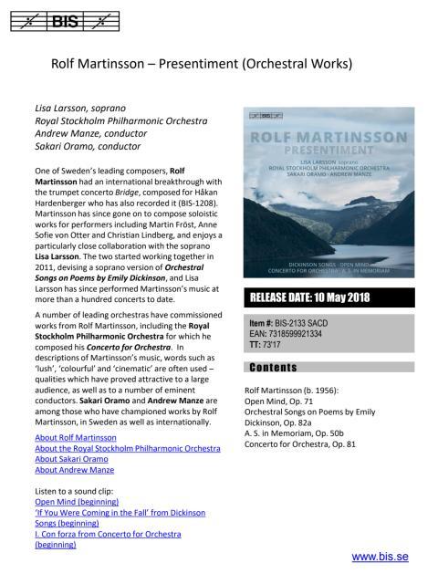 Rolf Martinsson CD - Presentiment - Press release