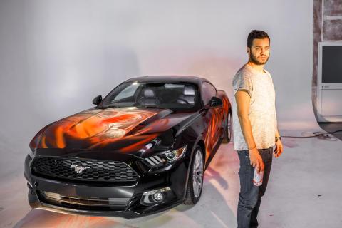 Ford Mustang als Comic-Strip auf Rädern