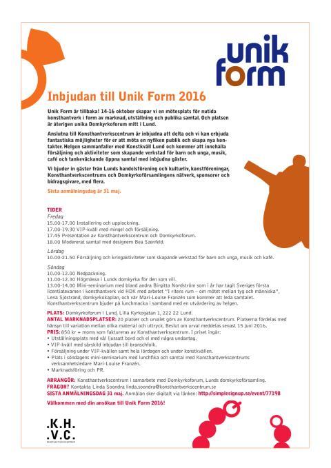 Inbjudan Unik Form 2016