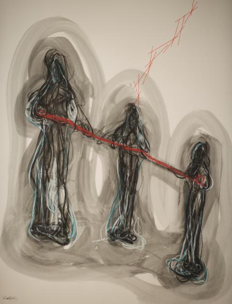 Chiharu Shiota, Red rope, 2018 © Chiharu Shiota BUS 2018