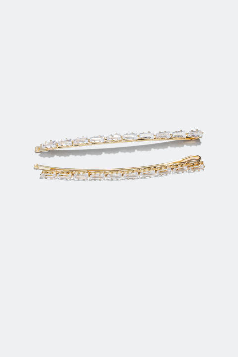 Hair Clips with Cubic Zirconia baguette stones (2-pakning)