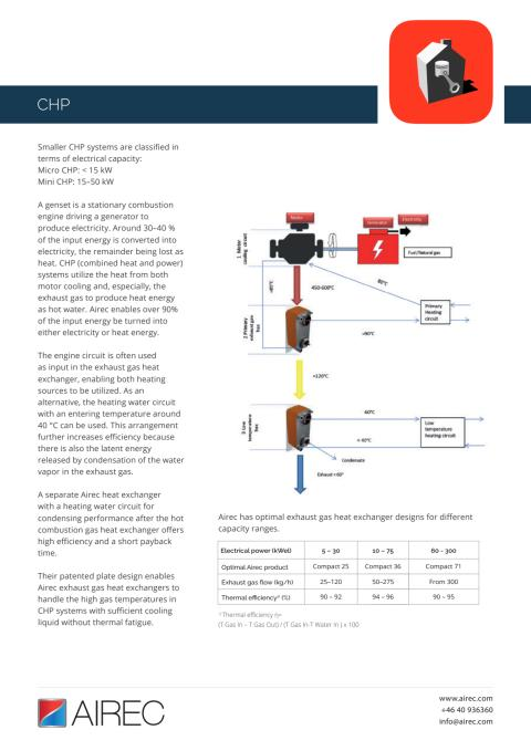 Airec application - CHP
