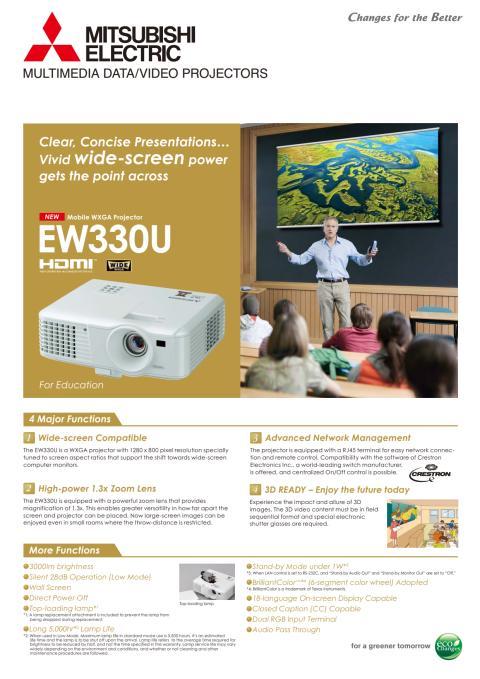 Produktblad på data/videoprojektor EW330U från Mitsubishi Electric