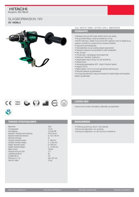 60010733 - Hitachi slagbormaskin DV18DBL2 (Tool Only)
