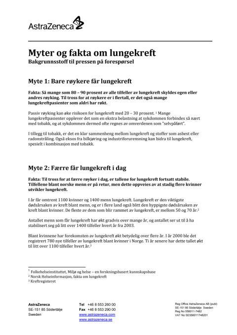 Myter og fakta om lungekreft