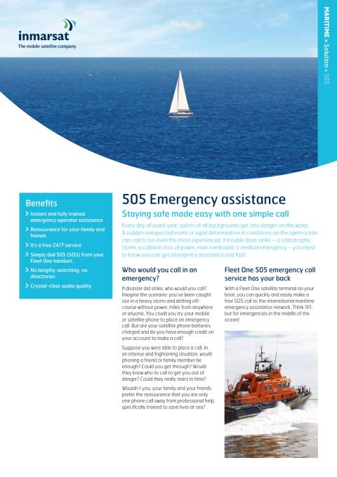 Fleet One 505 service (free voice distress call)